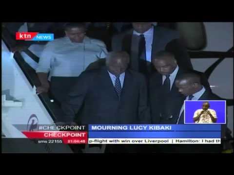The late Mama Lucy Kibaki's body arrives at JKIA and Uhuru declares 3 days of national mourning