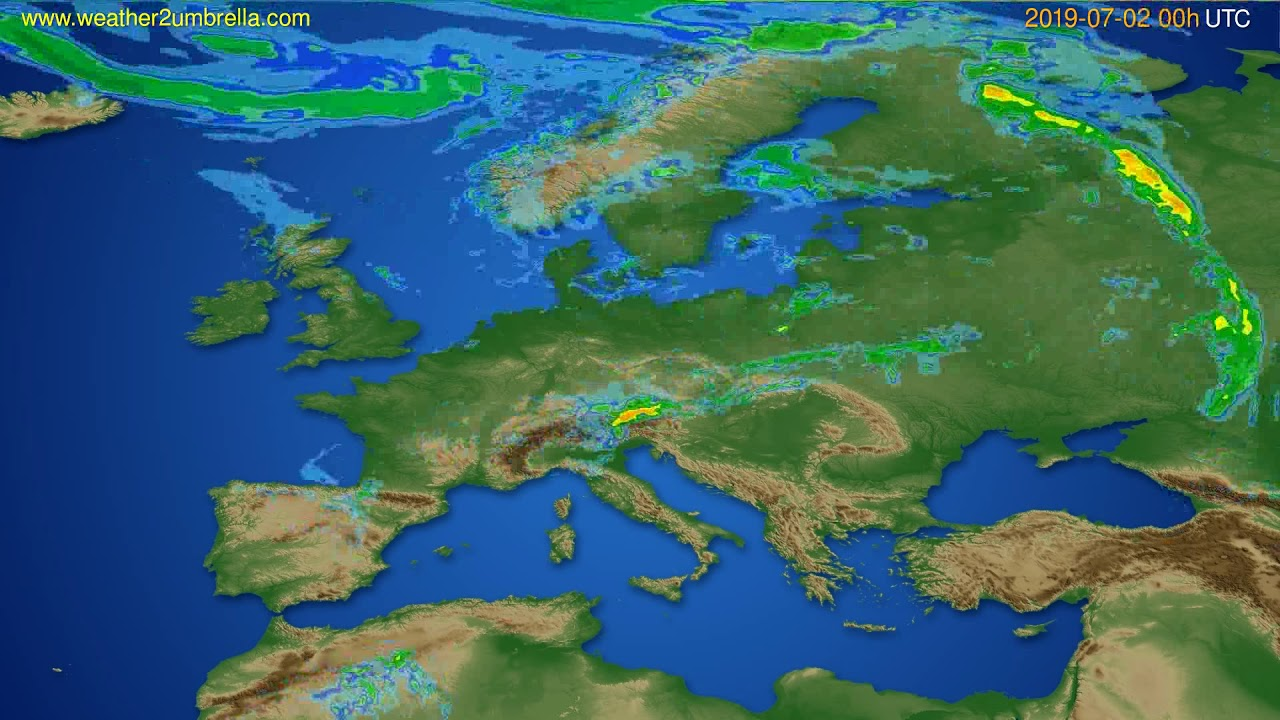 Radar forecast Europe // modelrun: 12h UTC 2019-07-01