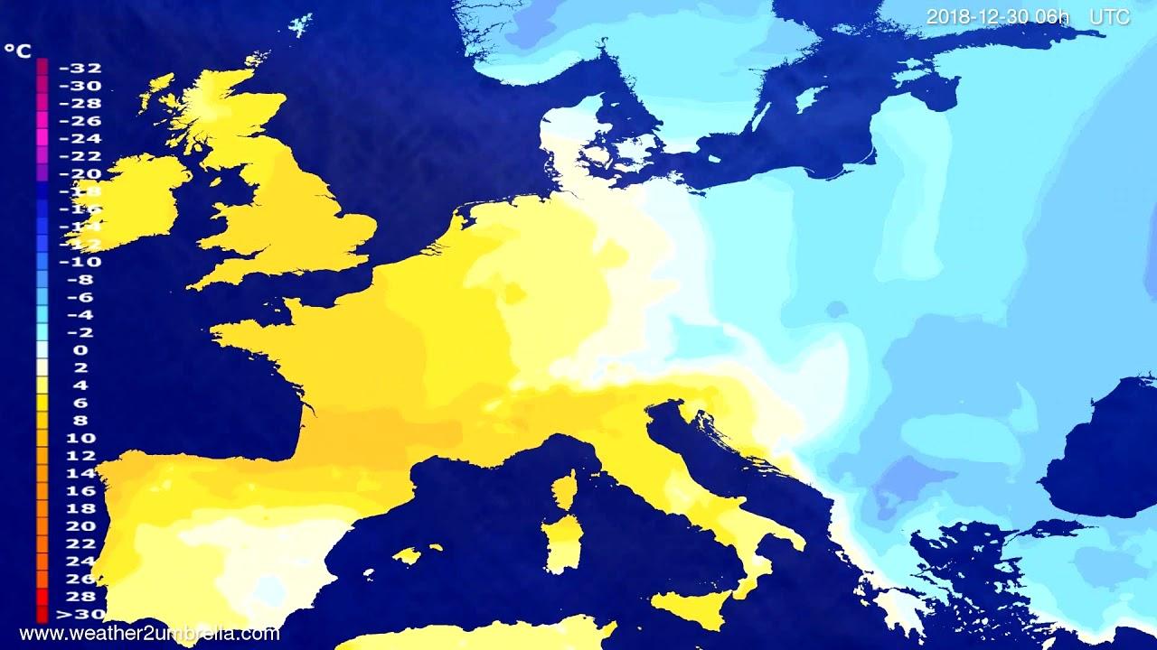 Temperature forecast Europe 2018-12-26