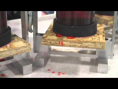 AdvanTech® Flooring Moisture Resistance Demo (Red Dye)