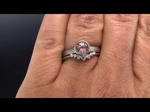 Bridal Set  Sapphire Bezel Engagement Ring & Moissanite Ring