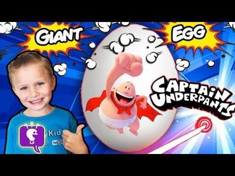 World's Biggest CAPTAIN UNDERPANTS Egg! Real Life SKIT + Funny Pranks Surprise Toys HobbyKidsTV (видео)