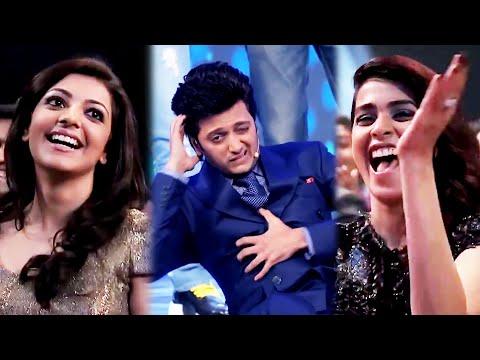 Kajal Aggarwal And Genelia Enjoying Most Hilarious Performance Of Riteish Deshmukh