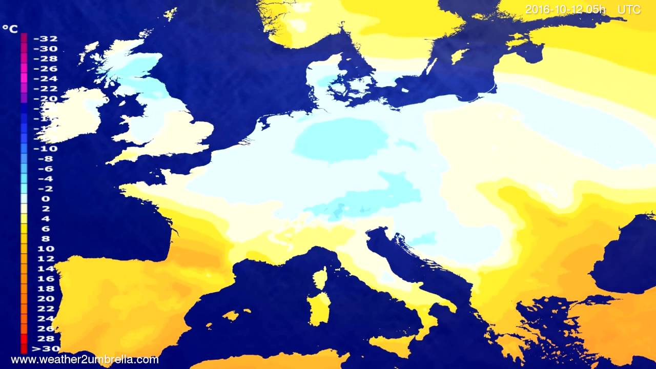 Temperature forecast Europe 2016-10-09