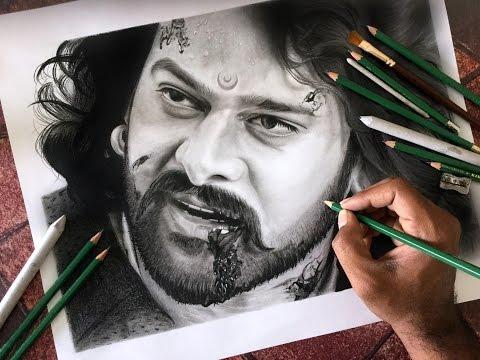 ஒரு ரசிகரின் கைவண்ணம்  பாகுபலி Drawing Baahubali ( PRABHAS ) realistic sketch