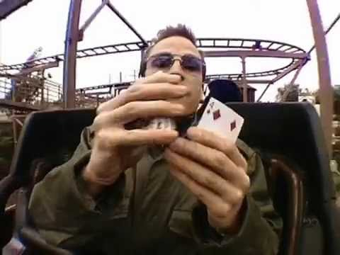 Card trick performed whilst riding a roller coaster