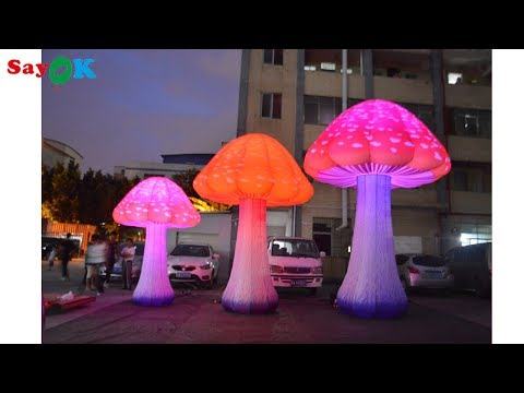 LED Inflatable Mushroom Decorations with LED Light for Theme Park, Event, Party, Stage Decorations