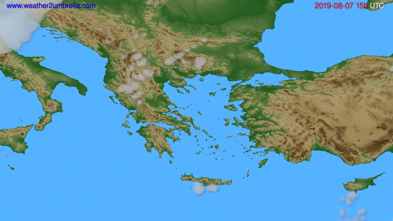 Cloud forecast Greece // modelrun: 12h UTC 2019-08-04