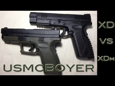 xd - A side by side view of the Springfield XD40 and the XDm40. Check my page for a full review of the XD and check back soon for a full review of the XDm www.hor...