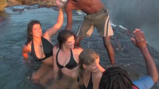 Livingstone Zambia  city photo : Girls defy death at Victoria Falls! Devil's Pool, Livingstone Island, Zambia