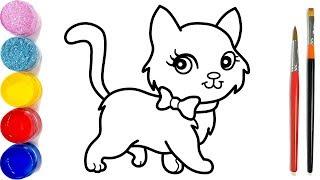 Cara Menggambar dan Mewarnai Kucing | Glitter Cute cat Coloring Pages | bé học tô màu nước