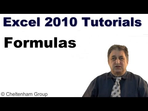 formula - http://www.cheltenhamtutorials.com Excel 2010 Foundation training course. Learn how to use formulas in an Excel workbook. EXCEL 2010 - FORMULAS - Creating fo...