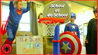 Video Superman Captain America Batman BACK TO SCHOOL vs NO SCHOOL superhero real life movie SuperHeroKids MP3, 3GP, MP4, WEBM, AVI, FLV Juni 2018