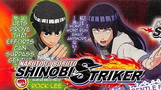 Naruto To Boruto: Shinobi Striker - Rock Lee And Hinata Hyuga Scan. Rock Lee and Hinata have been confirmed for the game, but did we really expect them not to? Hinata has the ability to seal jutsus of opponents.http://www.shonengamez.com/------------------------------------------------------------------------------------【2nd Channel】https://www.youtube.com/c/PapaBertoGaming【Twitter】https://twitter.com/Bertox360【Twitch】https://twitch.tv/Eljosbertox360【PSN ID】Eljosbertox360