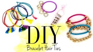 DIY Cute Bracelet Hair Ties by ANNEORSHINE - YouTube