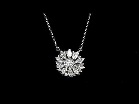 女裝14K白金0.82克拉(總重)鑽石吊墜