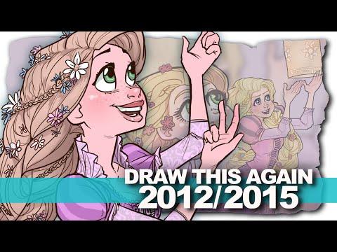 Rapunzel (Three Years of Progress) DRAW THIS AGAIN Challenge | DrawingWiffWaffles