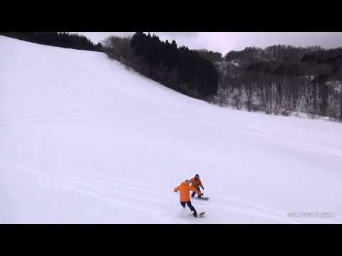 「雪板とラジコン空撮コラボ」九戸スキー場