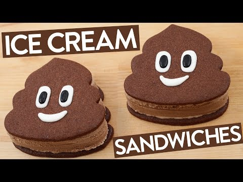 POOP EMOJI ICE CREAM SANDWICHES - NERDY NUMMIES