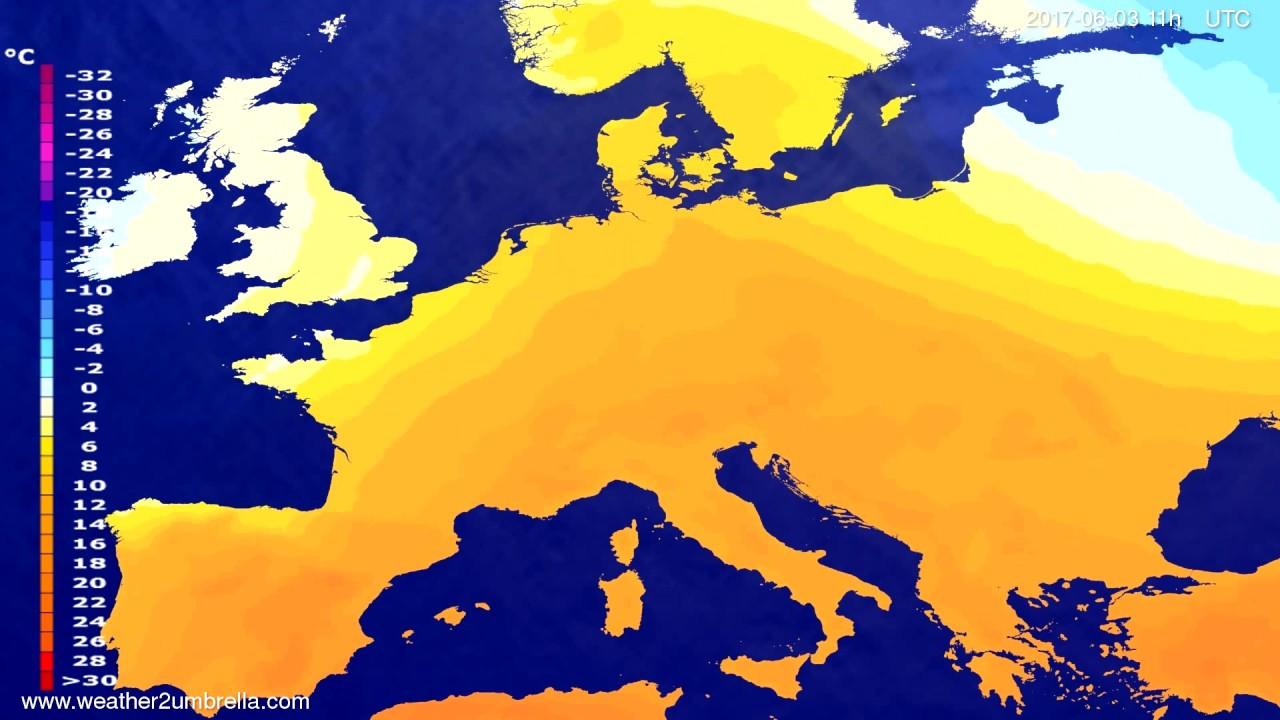 Temperature forecast Europe 2017-05-31