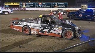 NASCAR Camping World Truck Series 2017. Eldora Dirt Derby. B.Rhodes, K.Forrister, M.Johnston Crash