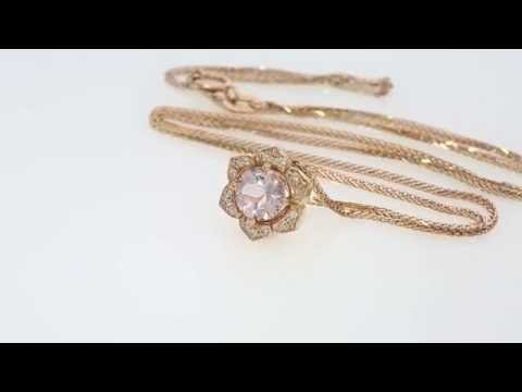 Lily Rose Flower Morganite and Diamonds Necklace 14K Gold