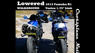 7. WALKAROUND - Lowered 2014 Yamaha YZF-R1 Compared to a Stock R1   Vortex Link LL684