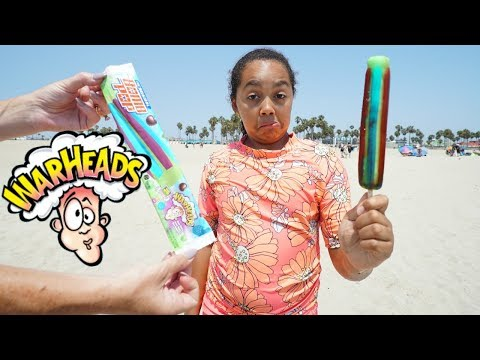 ICE CREAM CART! Warheads Sour Popsicle On The Beach (видео)