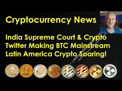 Cryptocurrency News – India Supreme Court; Twitter Making BTC Mainstream; Latin America Soaring!