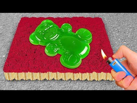 EXPERIMENT: 1000 Matches VS Jelly Bear - Thời lượng: 10 phút.