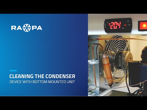 Cleaning the condenser in device with bottom mounted unit