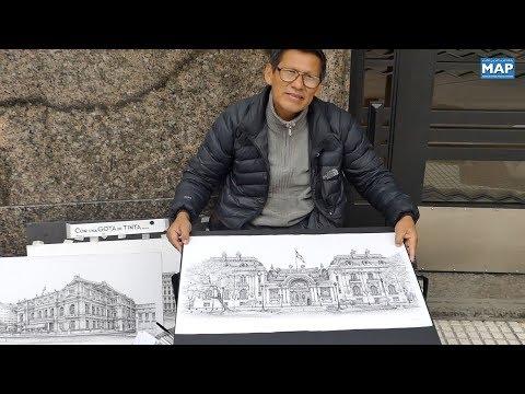خورخي خانكو فنان تشكيلي يرسم معالم بوينوس أيريس بقطرة حبر واحدة