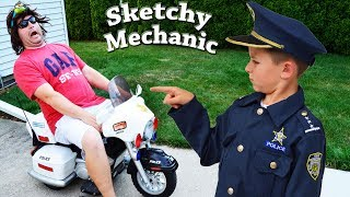 Video Sketchy Mechanic works on Officer Ryan's Police Motorcycle! Silly Funny Kids YouTube Video with Smal MP3, 3GP, MP4, WEBM, AVI, FLV Juli 2018