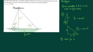 I explain the process behind solving a trigonometric word problem. This one deals with finding the height of a plane
