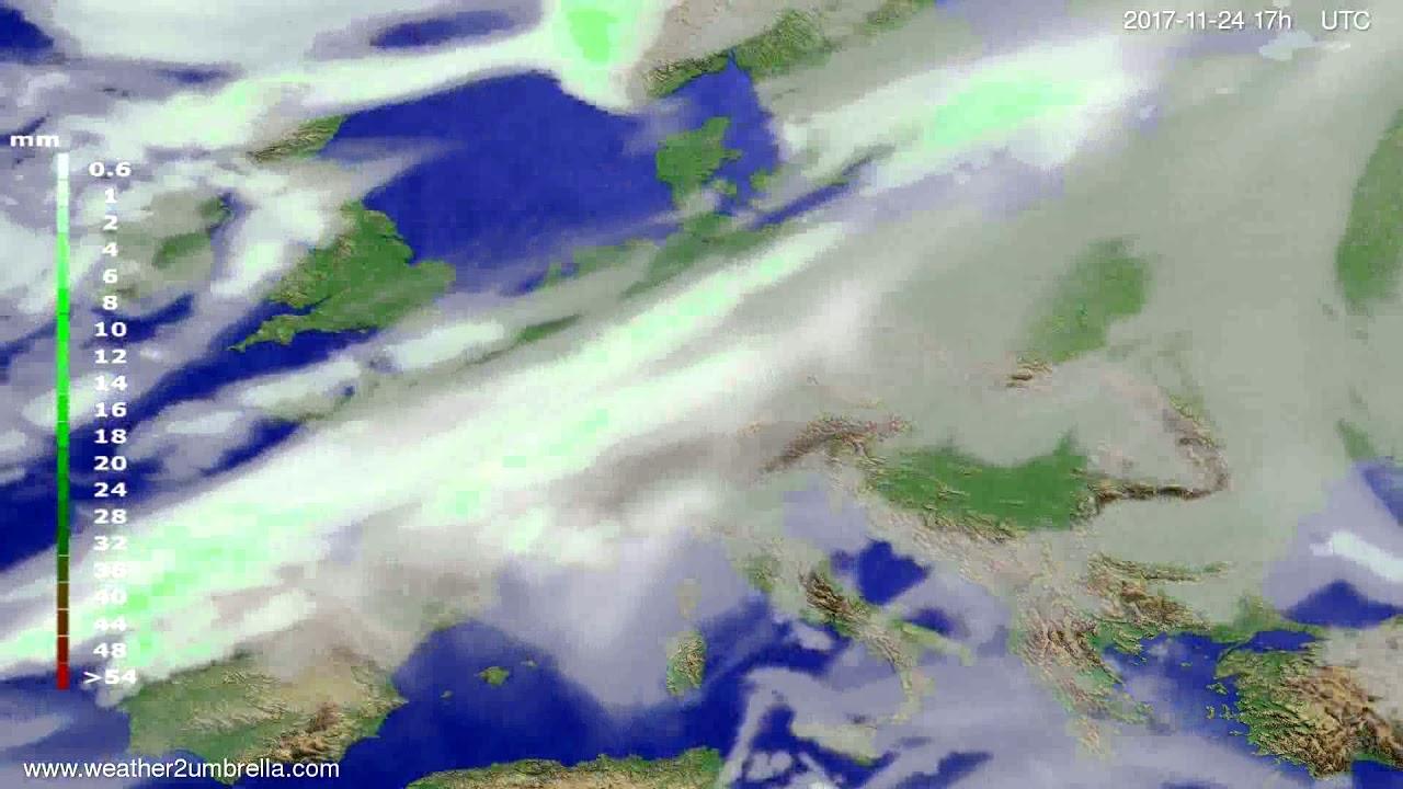 Precipitation forecast Europe 2017-11-22
