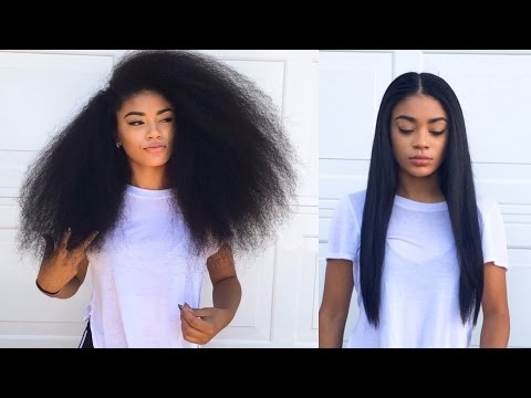 Curly to Straight Hair Tutorial (updated) - How to Get Rid of Frizzy Ends   jasmeannnn (видео)