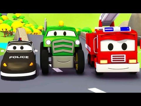 Bilpatrullens brandbil och polisbil med Traktorn | Bil- & lastbilsserier för barn 🚒🚓