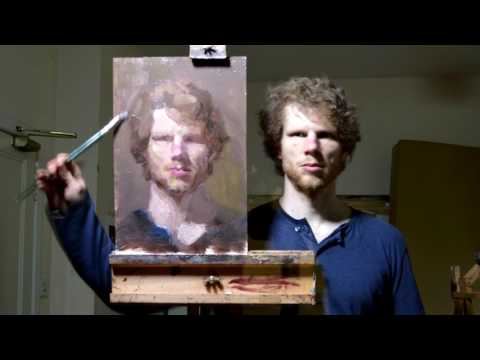 Timelapse Of Artist Painting A SelfPortrait In The Mirror From Behind