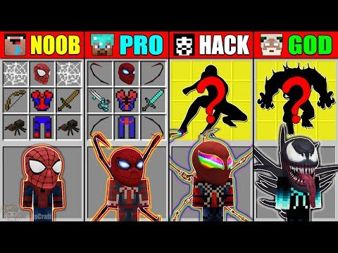 Minecraft NOOB vs PRO vs HACKER vs GOD SPIDER-MAN: FAR FROM HOME CRAFTING MUTANT CHALLENGE Animation