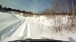 7. Arctic Cat 440 in deep snow , GOPRO 1080p (part 1)