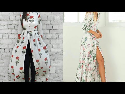 Video Maxi dress making DIY  how to cut and stitch front slit long gown download in MP3, 3GP, MP4, WEBM, AVI, FLV January 2017
