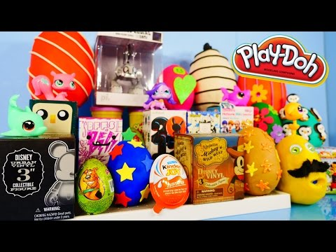 Play Doh Eggs Surprise Blind Box Unboxing Toys MLP Disney Vinylmation Kidrobot Playdough Videos