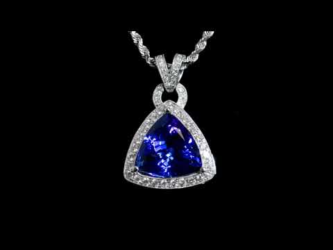 Lady's 19k White Gold 8.45ct Tanzanite and Diamond Pendant Necklace