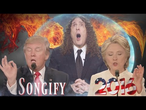 weird al yankovic donald trump and hillary clinton sing bad hombres and nasty women third presidential debate song 2016