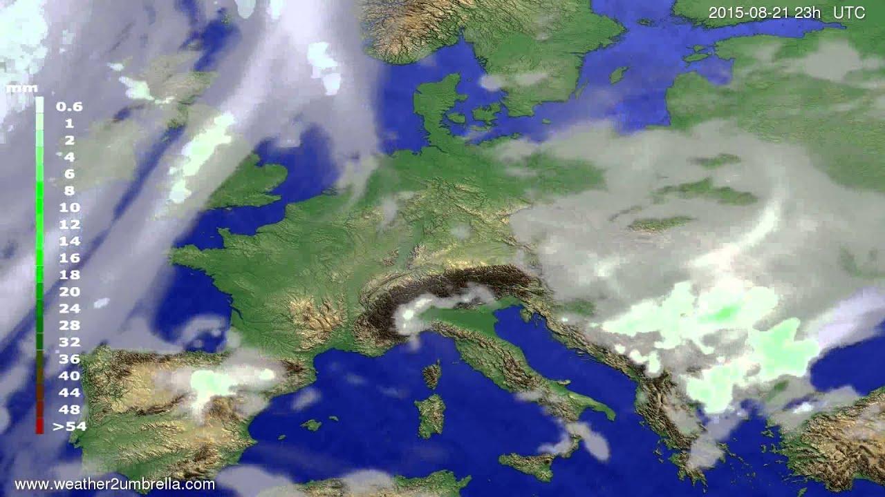 Precipitation forecast Europe 2015-08-19