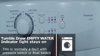 http://www.how-to-repair.com/help/hoover-candy-tumble-dryer-empty-water-indicator-flashing-runs-for-a-few-seconds-then-stops Hoover Candy tumble dryer runs for a few seconds empty water Indicator flashingSee our videos on servicing the machine and repairing the float switch or pressure switch fault https://youtu.be/3RjVnrjXe9Y