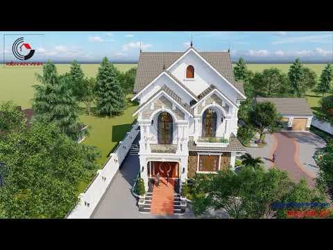 Thiết kế nhà biệt thự 2 tầng mái thái - sân vườn đẹp tại Long An