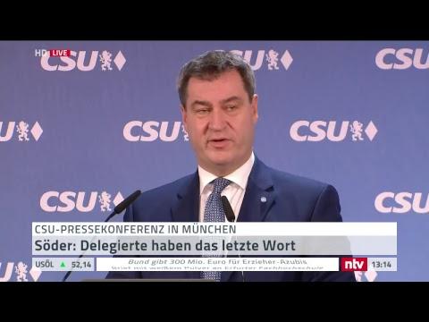 Ministerpräsident Söder gibt Pressekonferenz nach CSU ...
