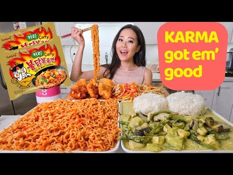 Spicy Curry RAMEN + Thai Food MUKBANG | Eating Show