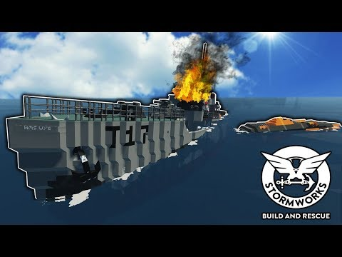 SINKING WARSHIP SURVIVAL & RECOVERY! - Stormworks: Build and Rescue Gameplay - Sinking Ship